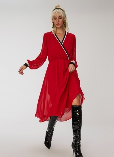 People By Fabrika Triko Bantlı Elbise Kırmızı